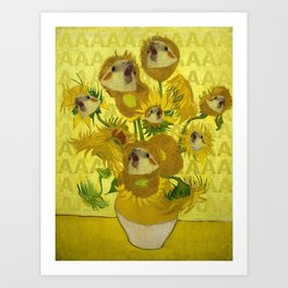sunflower cockatiel Art Print