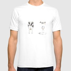 COW White MEDIUM Mens Fitted Tee