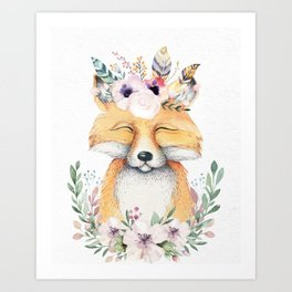 Forest Fox Floral by Nature Magick Art Print