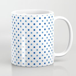Geometrical trendy navy blue white polka dots pattern Coffee Mug