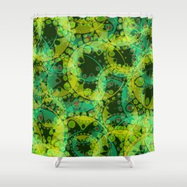 Spring pastels gently pearl and lemon circles and green ellipses with the image of abstract flowers Shower Curtain