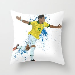 Neymar - Brazilian Footballer Throw Pillow