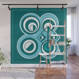 Striped Blue White and Teal Falling Eccentric Circles Abstract Art Wall Mural