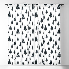 black and white Scandinavian Christmas Prints patterns Blackout Curtain