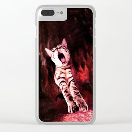 The Great Kitty Warrior of the Fiery Cat Cavern Clear iPhone Case