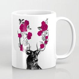 The Stag and Roses | Deer and Flowers | Red | Vintage Stag | Vintage Deer | Antlers | Woodland | Coffee Mug