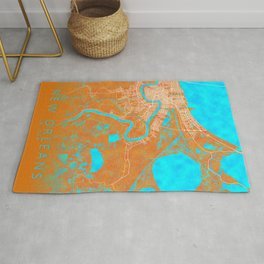 New Orleans, LA, USA, Gold, Blue, City, Map Rug