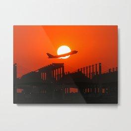 Boeing 747 - Sunset Take-Off Metal Print
