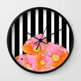 Poppy Stripes - Pink Wall Clock