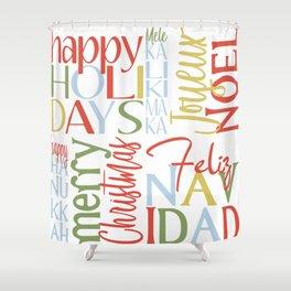 Holiday Typography with Merry Christmas Joyeux Noel Feliz Navidad Happy Hanukkah Shower Curtain