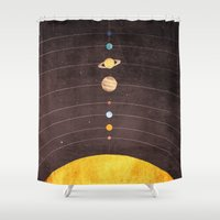 solar system Shower Curtains featuring Solar System by Annisa Tiara Utami