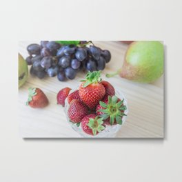 Fresh fruits. Healthy food. Mixed fruits are grapes, pears, peaches, strawberries. eat, diet, like f Metal Print