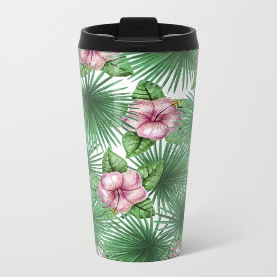 Jungle Love, Palm Leaves And Hibiscus White Metal Travel Mug