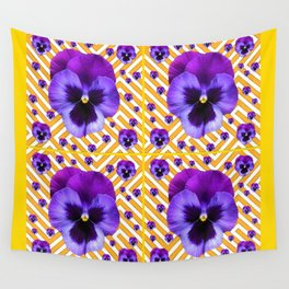 PURPLE PANSIES  FLOWERS & YELLOW PATTERNS  ART Wall Tapestry