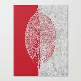 Natural Outlines - Leaf Red & Concrete #635 Canvas Print