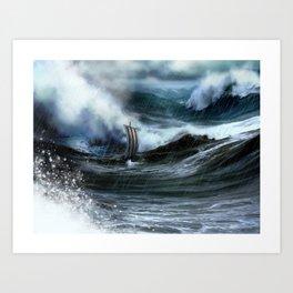 Lost at Sea, a Viking shipwreck in a storm Art Print