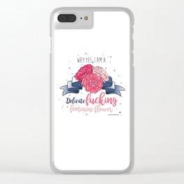 Delicate Feminine Flower Clear iPhone Case