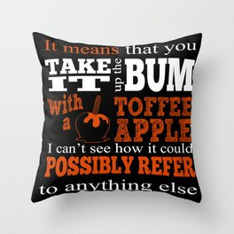 Toffee Apples. Fivepence. Throw Pillow
