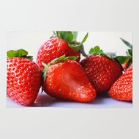 strawberry Area & Throw Rugs featuring Strawberry by Nicole Mason-Rawle