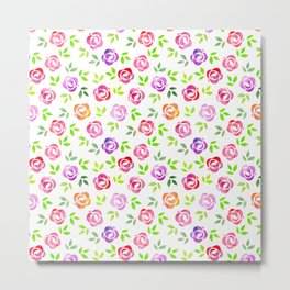 Brightly Colored Flower Pattern Metal Print