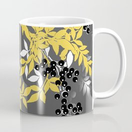 TREE BRANCHES YELLOW GRAY  AND BLACK LEAVES AND BERRIES Coffee Mug