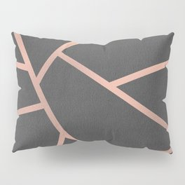 Dark Grey and Rose Gold Textured Fragments - Geometric Design Pillow Sham