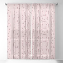 Pink Bunny Sheer Curtain