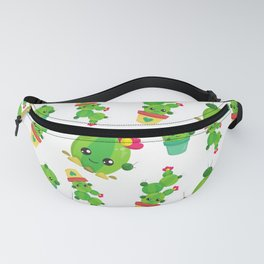 Cactus Pattern, Cute Cactuses, Smiling Cactuses Fanny Pack