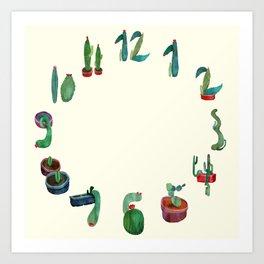 Clock Cactus Art Print