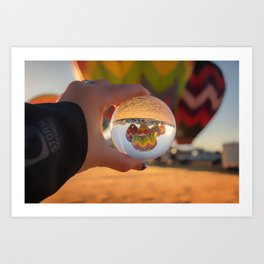 A Clearer View refraction photgraphy hot air balloons Art Print
