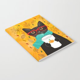Autumn Black Coffee Cat Notebook