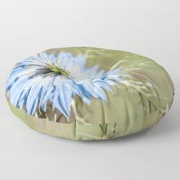 Blue flower close up Nigella love in the mist Floor Pillow