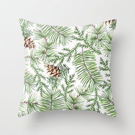 winter spruce branches with cones Throw Pillow