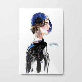 fashion #8. girl in baseball cap and big earrings Metal Print