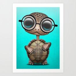 Cute Nerdy Turtle Wearing Glasses Art Print