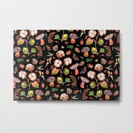 Cotton Fungi berries mix - BLACK Metal Print