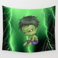 hulk Wall Tapestries featuring Chibi Hulk by artwaste