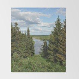 Landscape view on the taiga in Kargort village in Komi Republic of Russia. Throw Blanket