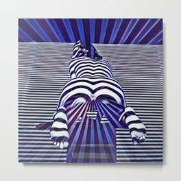 2519s-JPC Blue Striped Nude Woman From Behind Metal Print