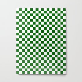 Small Checkered - White and Dark Green Metal Print