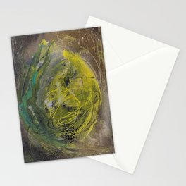 Lime spray painting on canvas, handmade Stationery Cards