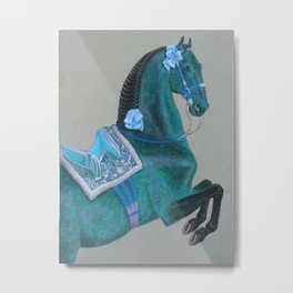Blue Baroque Horse Metal Print