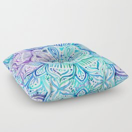 Iridescent Aqua and Purple Watercolor Mandala Floor Pillow