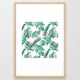 Green Coral Palm Leaves Framed Art Print