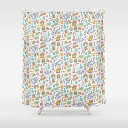 Girl Power - Coral + Aqua + Yellow Shower Curtain