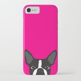 Boston Terrier Hot Pink iPhone Case