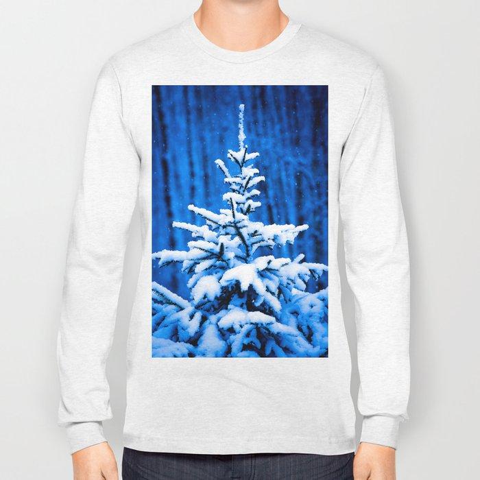 Snow covered Christmas tree Long Sleeve T-shirt