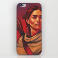 katniss iPhone & iPod Skins featuring Katniss by JenHoney