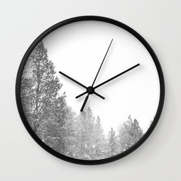 Winterland // Snowy Landscape Photography White Out Winter Pine Tree Artwork Wall Clock
