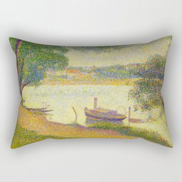 Gray weather Grande Jatte 1888 Oil Painting Pointillism Post-Impressionism Impressionism Modern art Rectangular Pillow